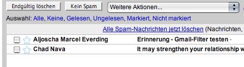 Fehler beim Googlemail-Spamfilter